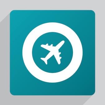 平らな飛行機のアイコン、緑の背景に白