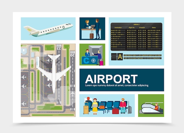 Flat airport elements composition