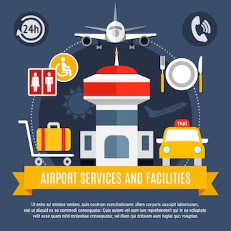 Flat airport services and facilities background
