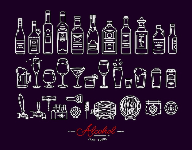 Flat alcohol icons violet