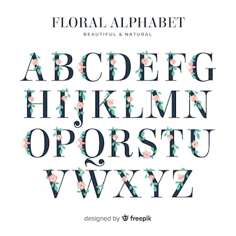 Flat alphabet with flowers