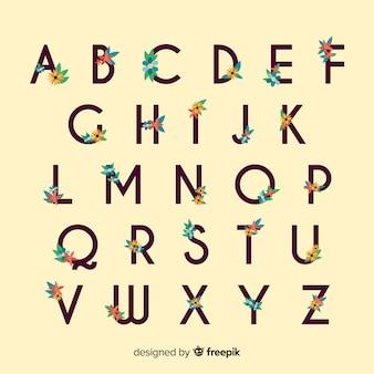 Flat alphabet with flowers