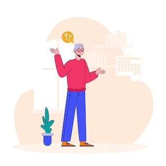 Flat alzheimer concept illustration
