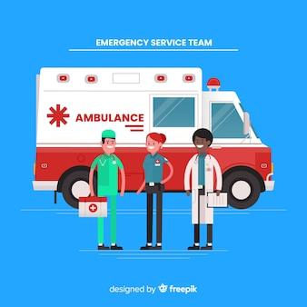 Flat ambulance team