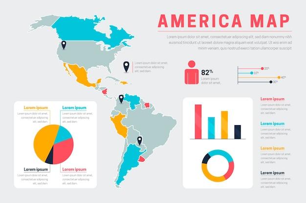 Плоская америка карта инфографики