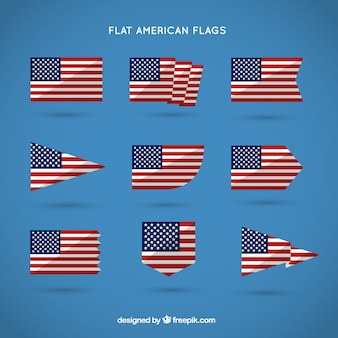 Flat american flags