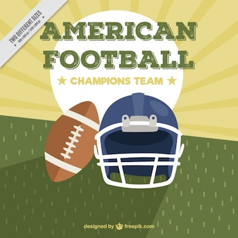 Flat american football background with ball and helmet