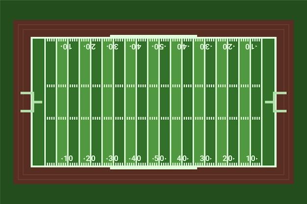 Campo di football americano piatto in vista dall'alto