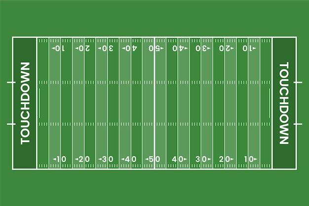 Flat american football field in top view