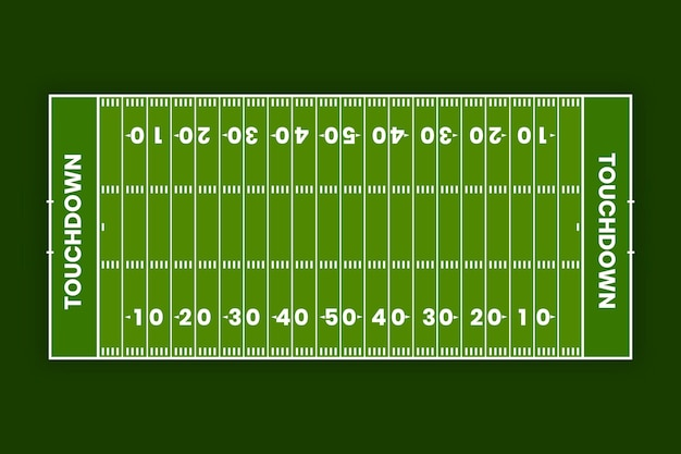 Flat american football field in top view Free Vector