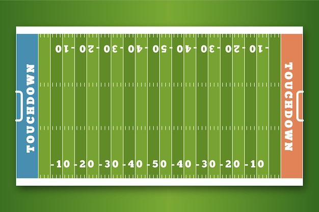Flat american football field in top view