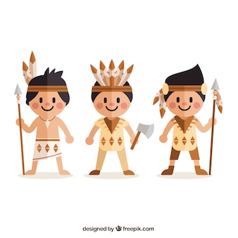 Flat american indians in cartoon style
