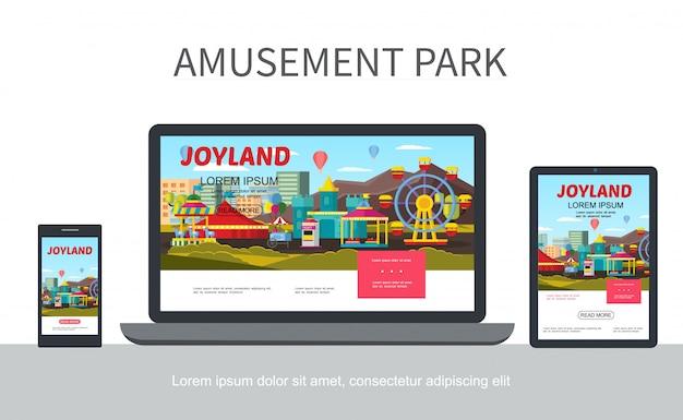 Веб-шаблон адаптивного дизайна плоского парка развлечений с различными аттракционами и каруселями на мобильных экранах ноутбуков