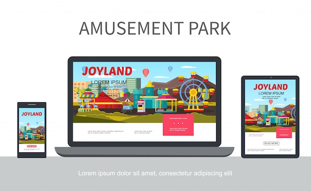 Flat amusement park adaptive design web template with different attractions and carousels on laptop mobile tablet screens isolated