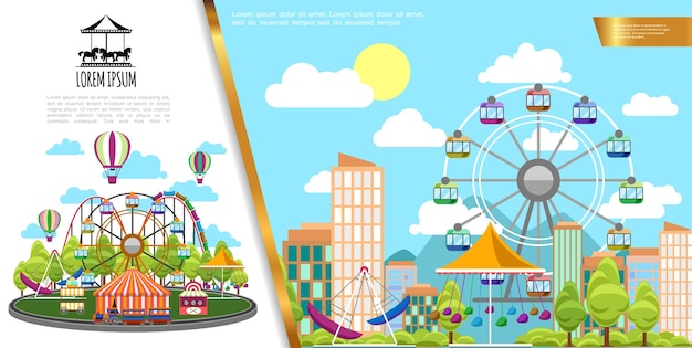 Flat amusement park in city concept