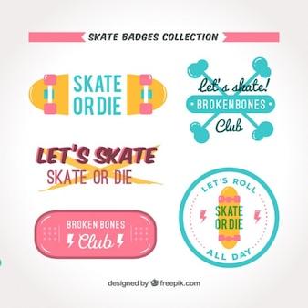 フラット着色スケートバッジコレクション