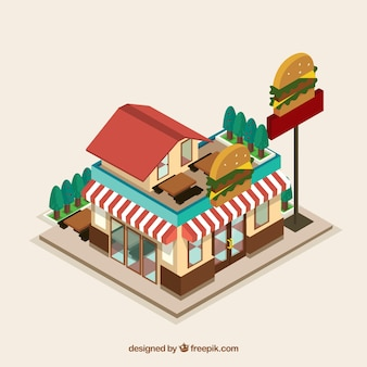 平らで等尺性のハンバーガーレストラン