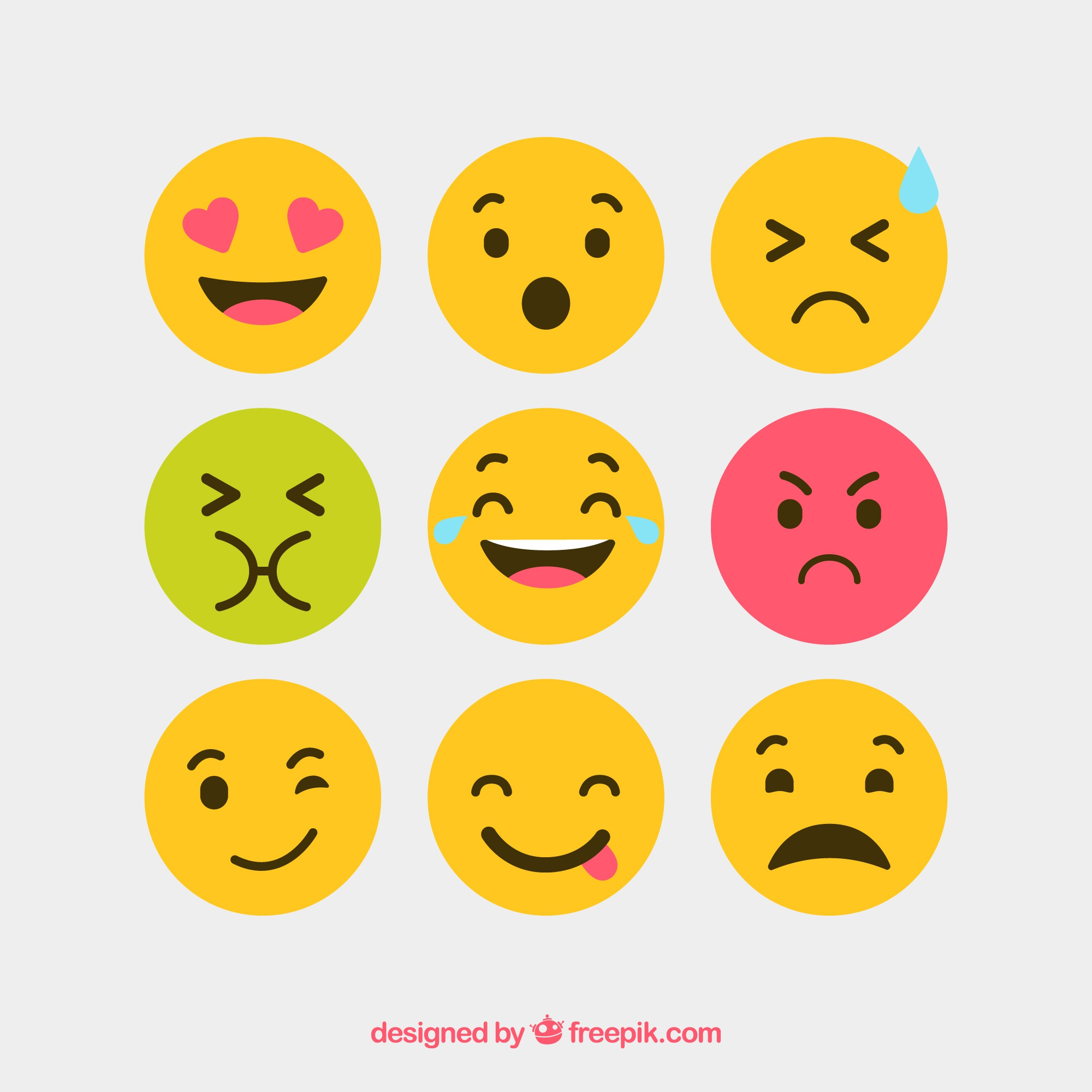 Flat and round vector emotion icons