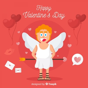 Flat angel valentine's day background