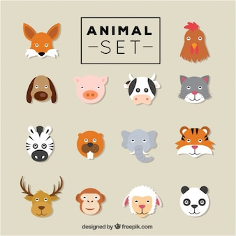 Flat animal heads set