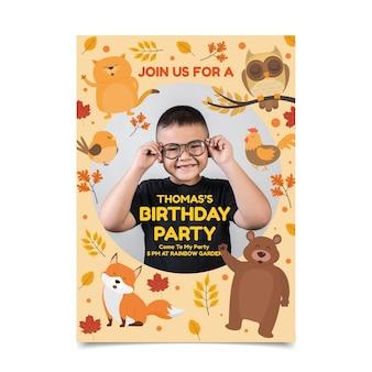 Flat animals birthday invitation template with photo