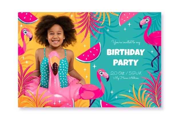 Modello dell'invito di compleanno di animali piatti con foto