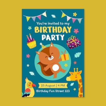 Modello di invito compleanno animali piatti