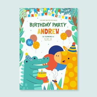 Flat animals birthday invitation template