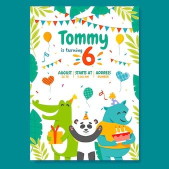 平らな動物の誕生日の招待状のテンプレート