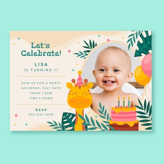 Flat animals birthday invitation with photo