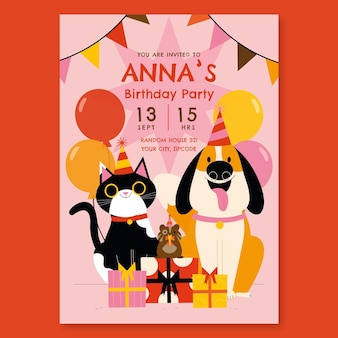 플랫 동물 생일 초대장