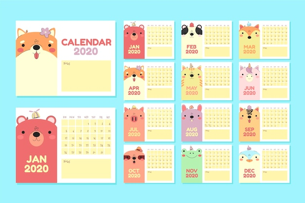 Flat animals calendar 2020 template set