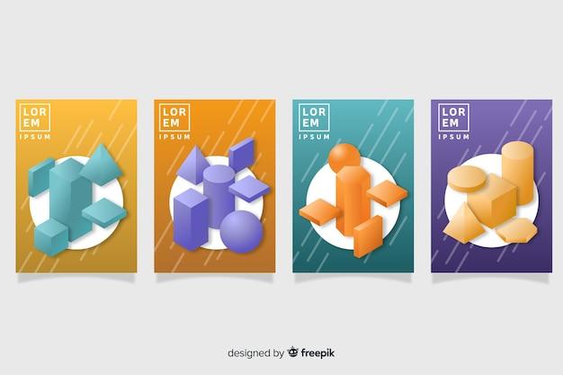 Flat antigravity geometric shapes poster set