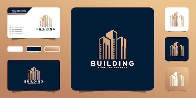 플랫 아파트 현대적인 건물 로고 디자인 및 명함 영감