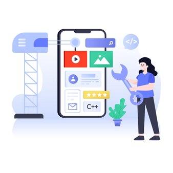 Flat app development illustration app coding and app building concept