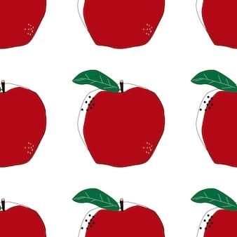 플랫 애플 원활한 배경 벡터 일러스트 레이 션. 여름 색상 디자인입니다. 건강한 생활. 스칸디나비아 스타일. 채식 배경입니다.