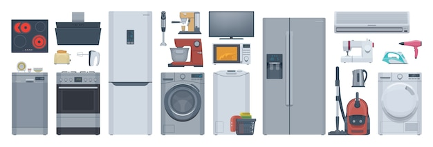 Flat appliances set. refrigerator, washer, stove & other.  illustration. collection