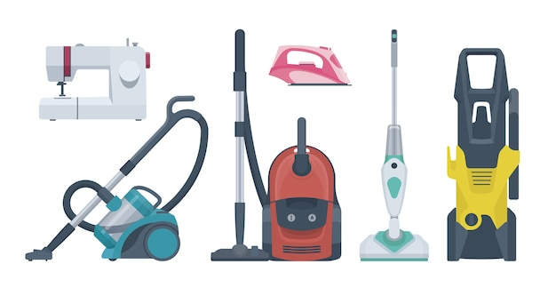 Flat appliances set. vacuum cleaner, sewing machine, iron.  illustration. collection