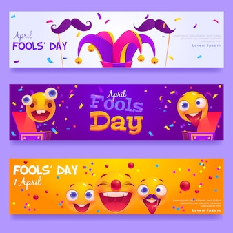 Flat april fools' day banners set