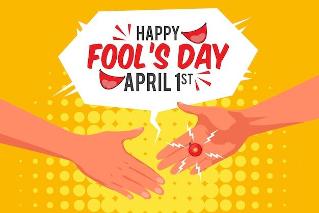 Flat april fools day illustration of prank