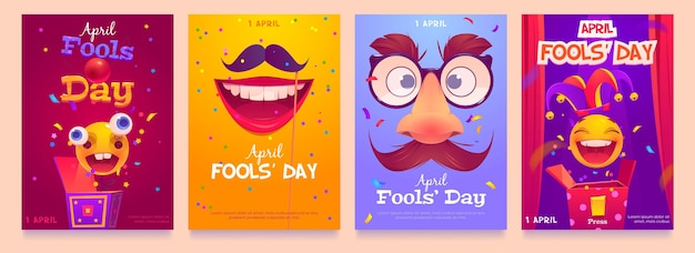 Flat april fools' day instagram stories collection