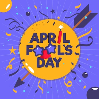 Flat april fools day with confetti