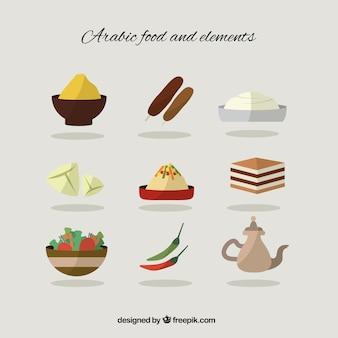 Flat arabic food and elements