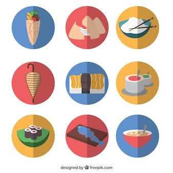 Flat arabic and oriental food icons