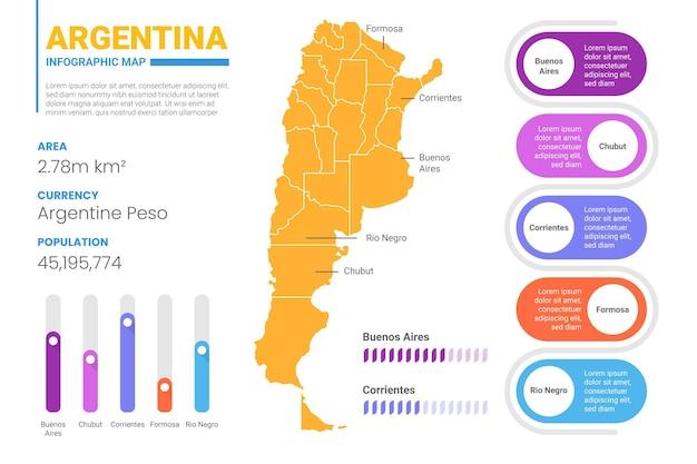 Плоская карта аргентины инфографики