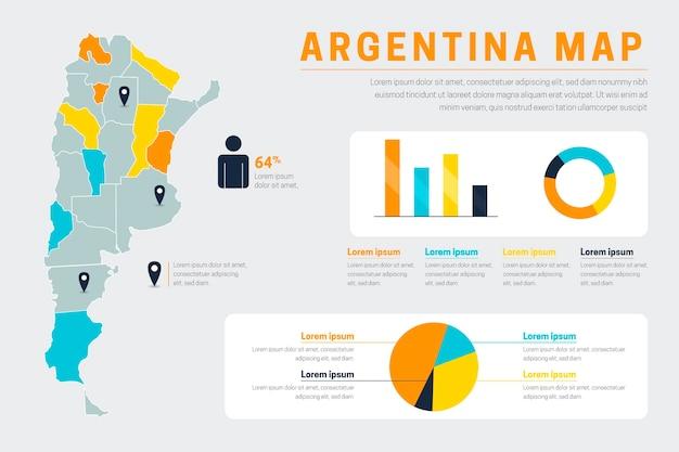 フラットアルゼンチン地図インフォグラフィック