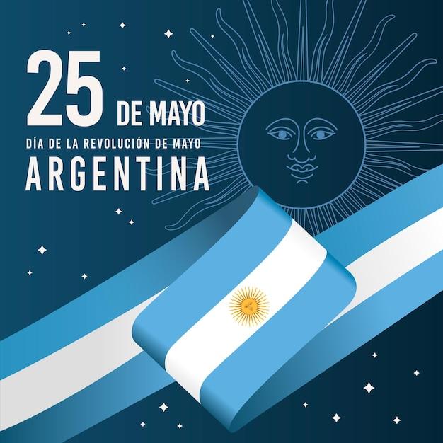 Flat argentinian dia de la revolucion de mayo illustration
