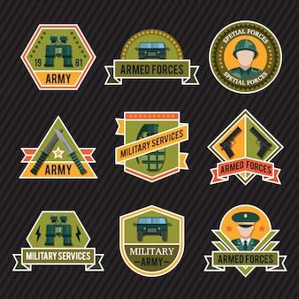Flat army emblem set