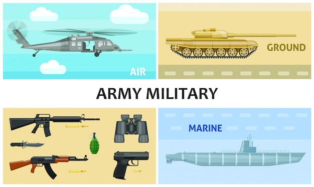 Flat army and military composition with automatic machines pistol grenade bullets knife binoculars submarine tank helicopter