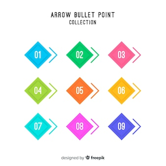 Flat arrow bullet point collection